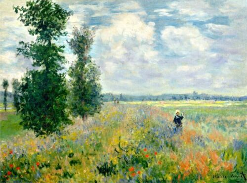 Poppy Field, Argenteuil, 1875 by Claude Monet Giclee Print Repro on Canvas