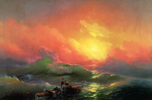 Ivan Aivazovsky The Ninth Wave Handmade Oil Painting repro 24x36 inches