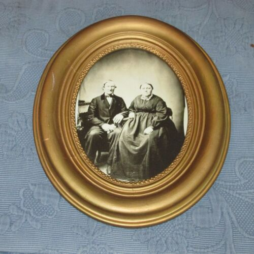 Antique Victorian Civil War Era Oval Gold Picture Frame, Husband & Wife Photo