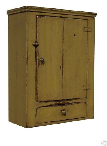 PRIMITIVE WALL HANGING CABINET CUPBOARD PAINTED COUNTRY FARMHOUSE PINE RUSTIC