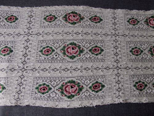 """ANTIQUE HAND EMBROIDERY COLORED FLOWERS CREAMY SILKY HUGE LACE TRIM 26 X 10 1/2"""""""