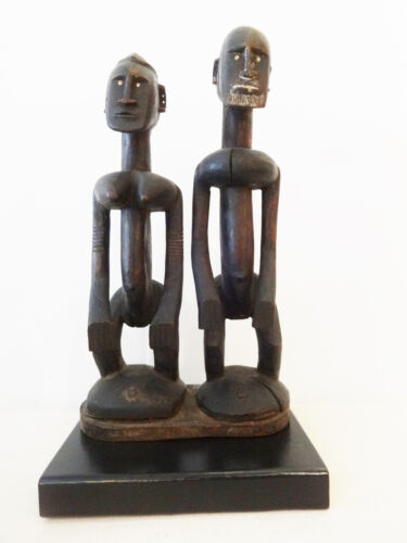 Old Dogon Seated Couple Mali Custom Stand African Art