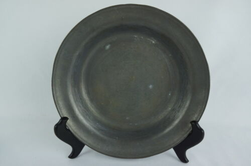 "Great Heavy Antique Pewter Soup bowl plate 19th C. marked 8 1/2"" [Y8-W7-A9]"