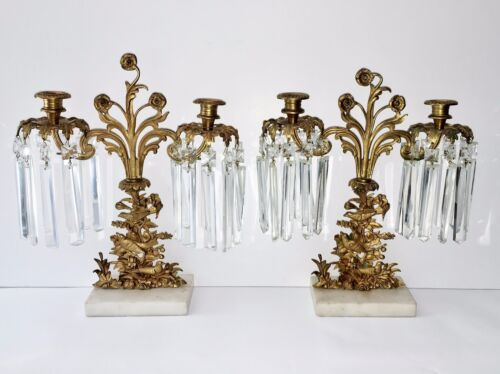 2 Antique Victorian Gilt Brass Candle Holders Crystal Prisms Lustres Marble Base