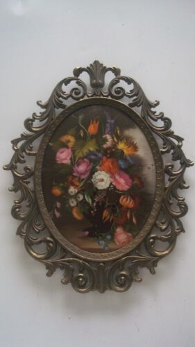 Italian Vintage Victorian Metal Filigree Frame Floral Print Curved Wall Picture
