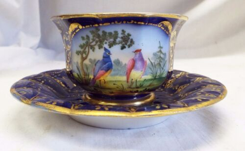 RARE Early Antique 1780s SEVRES FRANCE TEA CUP & SAUCER Birds Gold Trim EVANS