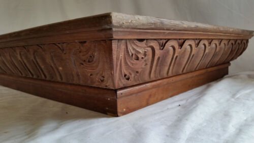 """Antique Carved Oak Wood Architectural Cornice Victorian Salvage 44"""" X 21"""" X 5"""""""