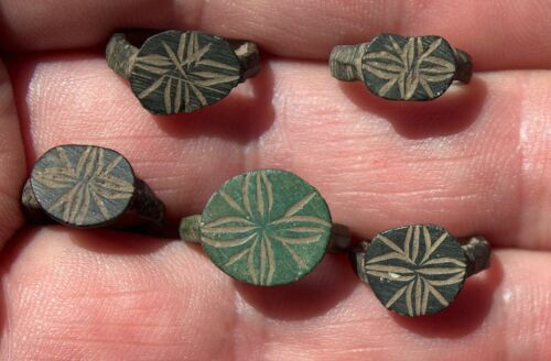 5 Small Ancient Bronze Viking Ring Artifacts With Runes Made For Children LOT