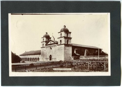 """1900s OLD MISSION @ SANTA BARBARA CALIFORNIA,FOUNDED 1786~ANTIQUE """"MUNSEY"""" PHOTO"""
