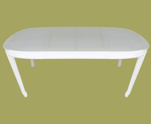 7' HENREDON CHINESE MING STY ANTIQUE WHITE LACQUER CARVED EXTENDING DINING TABLE