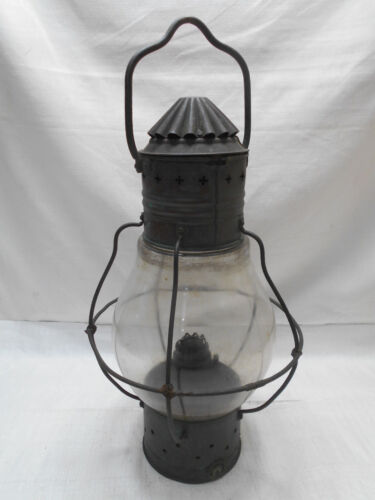 Vintage Copper and Glass Oil Ship's Light Kerosene Lamp Japanese   #44