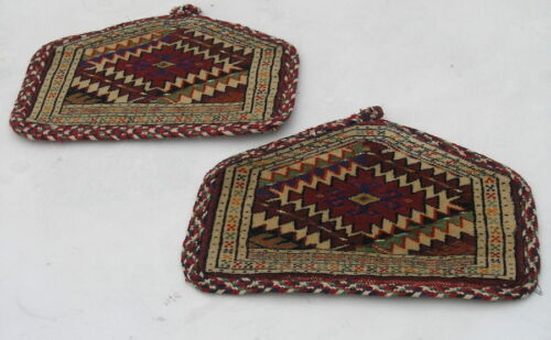 Pair Vintage Miniature Yomud Asmalyk for Camel Procession 14x11 inches