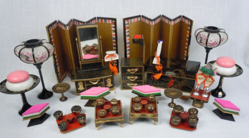 Antique Japanese Doll House Miniature Furniture Lacquer Screen Sewing Chest Lamp