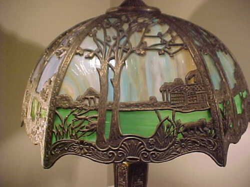 FABULOUS  SALEM BROS Antique 12 Panel Slag Glass Table Lamp With Filigree ANIMAL