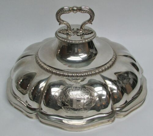 """RARE 19th CENTURY LONDON STERLING SILVER 11"""" ENTREE COVER DOME BY W. LEUCHARS"""