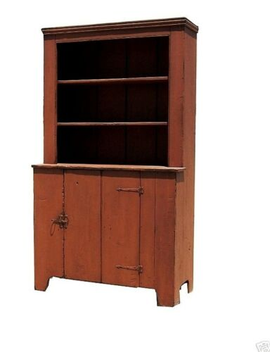 PAINTED STEP BACK CUPBOARD HUTCH PRIMITIVE FARMHOUSE RUSTIC COUNTRY CABINET PINE