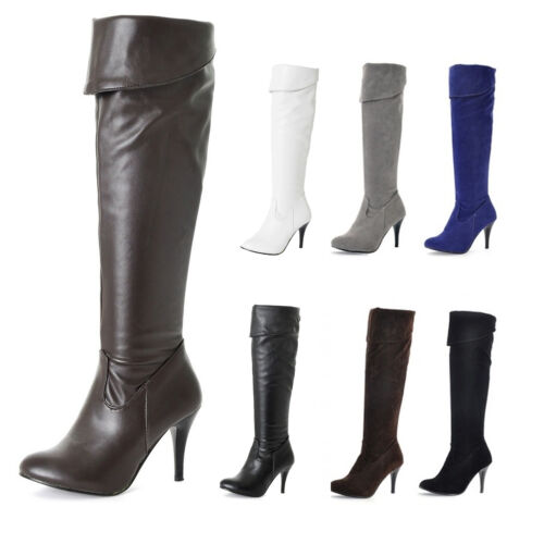 Thigh Length Boots High Heels PU Leather Over Knee Shoes Stiletto Heel Ladies Sz