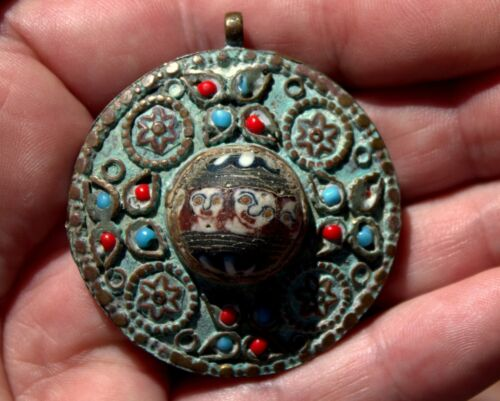 Very Old Bronze Pendant With Turquoise & Coral & Phoenician Glass Faces