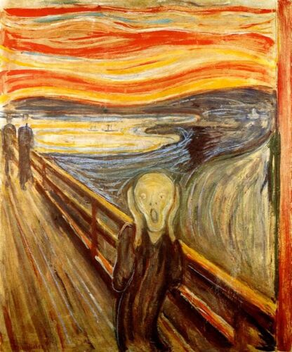 THE SCREAM DISTORTED MAN TWILIGHT WAVES PAIN 1893 PAINTING BY EDVARD MUNCH REPRO