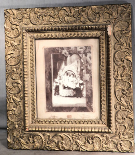 Antique Vintage Picture Frame Gilt Gesso Wood Victorian Aesthetic 8x10 Photo Kid