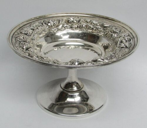 """1950 STEIFF COMPANY STERLING SILVER  REPOUSSE' 4"""" COMPOTE CANDY DISH"""