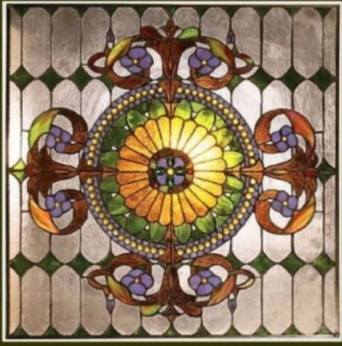 """Handcrafted Window Panel Stained Glass 25"""" X 25""""  Great Colors! 569 Pieces Glass"""