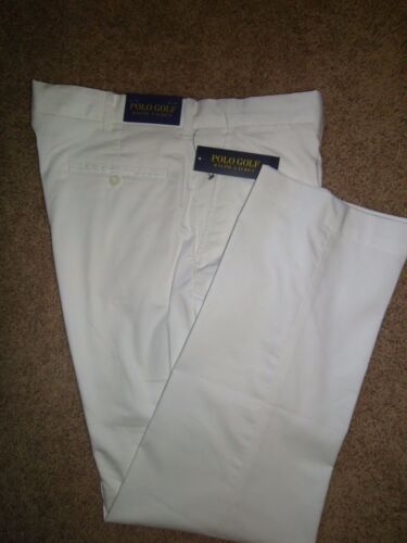 Polo Golf Ralph Lauren Men's Pants White Flat Front Cotton Stretch NWT
