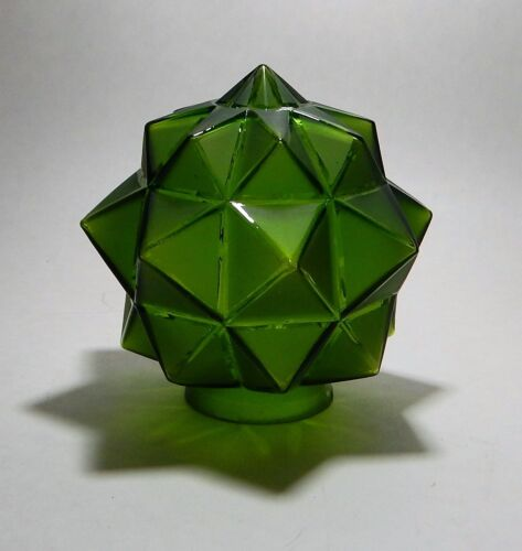 VINTAGE CZECH ART DECO LAMP LIGHT GEOMETRIC GLOBE GREEN GLASS STAR BURST SHADE