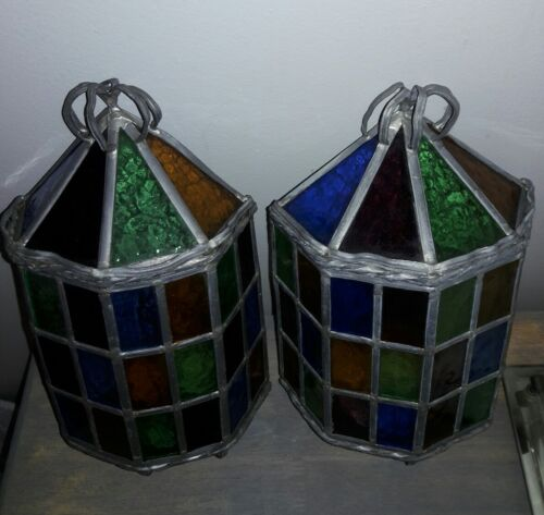 Pair Antique Arts & Crafts Stained Glass Porch Wall Sconce Vtg Arts & Crafts