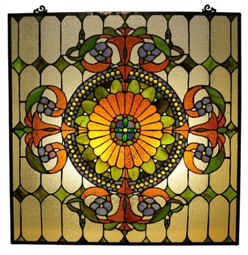 ~LAST ONE THIS PRICE~ Tiffany Style Window Panel Victorian Design Stained Glass