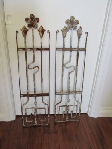 2 AWESOME OLD ARCHITECTURAL Salvaged METAL DECOR PIECES Flowers ORNATE Patina 3'