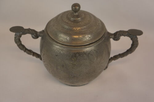 Superb antique chinese pewter Swatow sugar bowl [Y8-W7-A8-E8]