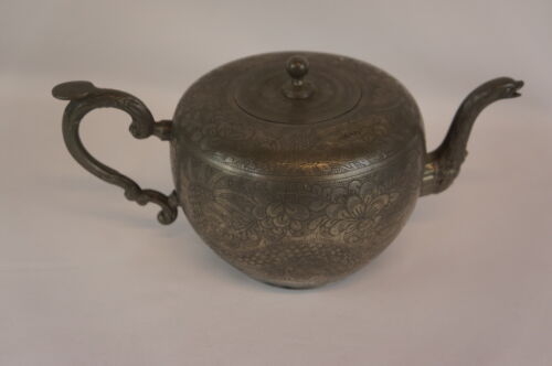 Superb antique chinese pewter Swatow teapot [Y8-W7-A8-E8]