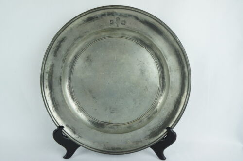 "Antique pewter plate charger 19th C. marked 10 1/2"" English ? [Y8-W7-A8-E8]"