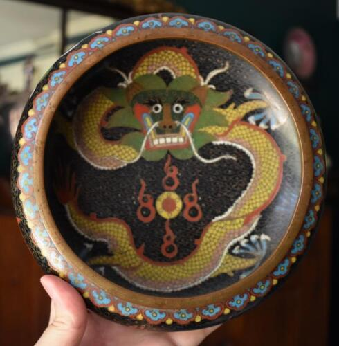 GORGEOUS ANTIQUE CHINESE EXPORT SIGNED DRAGON AND PEARL MOTIF LOW CLOISONNE BOWL