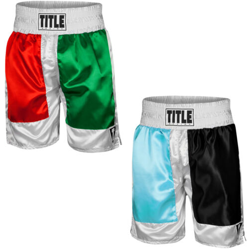 "Title Boxing Panel Pro 4"" Waistband Satin Boxing Trunks <br/> Exclusive Seller of TITLE Boxing on eBay"