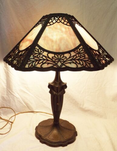 Antique Art Nouveau SLAG GLASS 6 Panel Electric TABLE LAMP -WORKS-