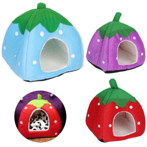 Cute Foldable Strawberry Pet Bed Dog Cat Kitten Puppy Cave Kennel House with Mat