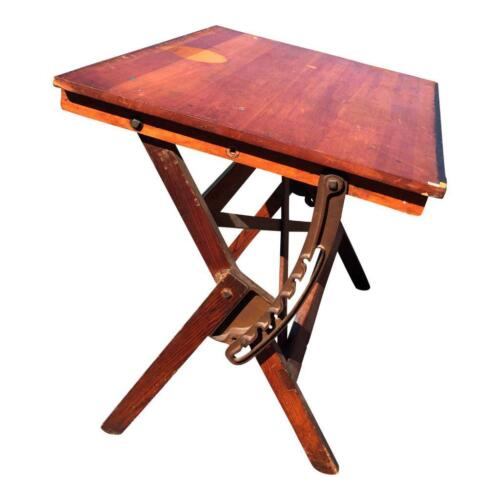 Vintage DRAFTING TABLE drawing industrial antique tilt wood architect CAST IRON