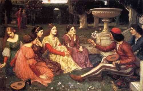 John William Waterhouse A Tale from the Decameron Giclee Canvas Print