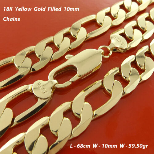 """Necklace Chain Real 18k Yellow G/F Gold Solid Mens Figaro Bling Link 22"""" 55cm"""