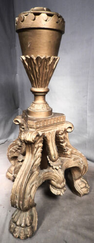 Antique Italian Carved Gilt Gilded Wood Lion Paw Baroque Tripod Stand base Gold