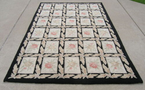 Vintage Japanese Hooked Rug Boxed Floral Wool Yarn Black Border 61 x 85 Inches