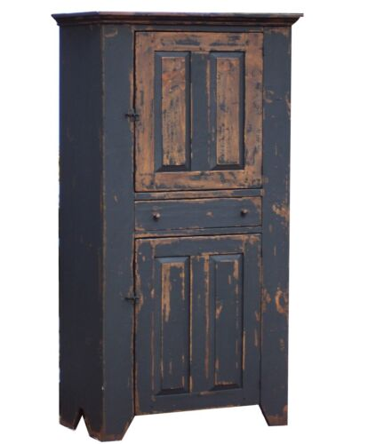 PAINTED COUNTRY CUPBOARD EARLY AMERICAN PRIMITIVE FARMHOUSE RUSTIC PINE CABINET