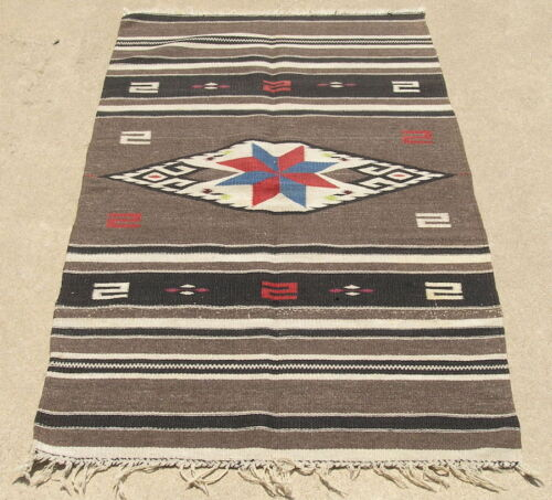 Exciting and Well Done Antique Zapotec Child's Blanket Vallero Star 29x57 Inches