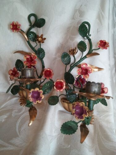 Lovely Pair Vintage Italian Metal Tole Flower Candle Holder Sconces