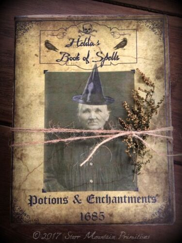 Primitive Halloween Prop Witch Book of Spells Potions Journal Cupboard Tuck