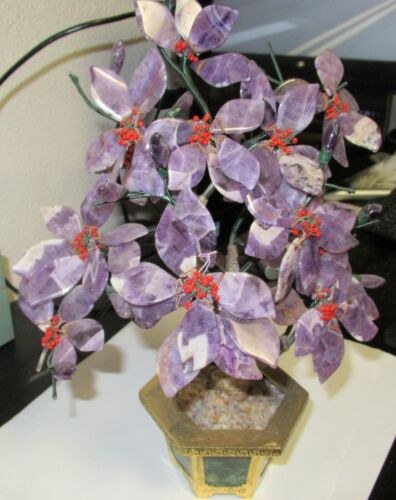 """NICE AMETHYST AND CORAL BLOSSOM TREE WITH JADE STONE POT 11""""H"""
