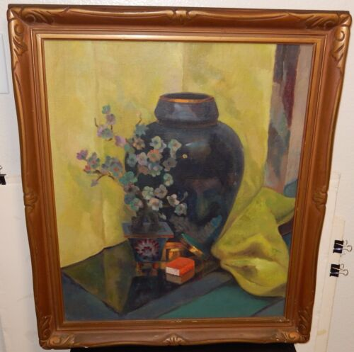 OLD ASIAN VASE AND JADE TREE ON TABLE OIL CANVAS STILL LIFE PAINTING UNSIGNED