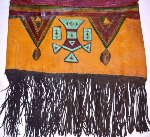 Antique Tuareg Adafor Tent Cushion Painted Goat Leather Pillowcase Mali, Africa